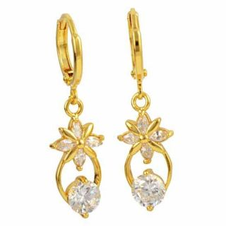 Charming 9K Solid Gold Filled CZ Ladies Dangle Earrings Z480