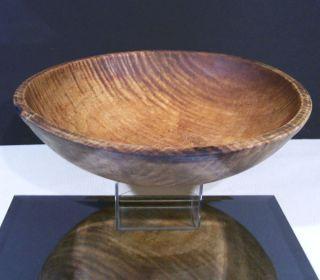 Large Antique Primitive American Tiger Maple Wooden Dough Bowl