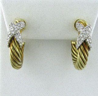 Estate David Yurman 14k Gold Diamond Hoop Earrings