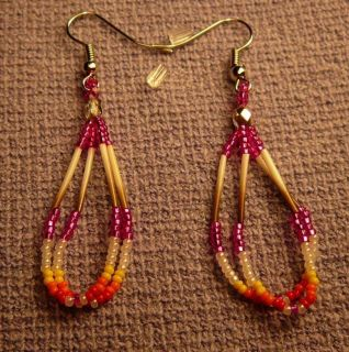 Stunning Traditional Colorful Quills Beaded Earrings Native American
