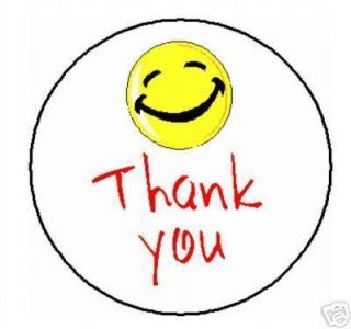 Thank You Smiley Face Labels Stickers 1008 Qty