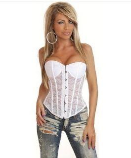 Sexy Translucent White Lacey Burlesque Corset Bustier Basque Top Plus