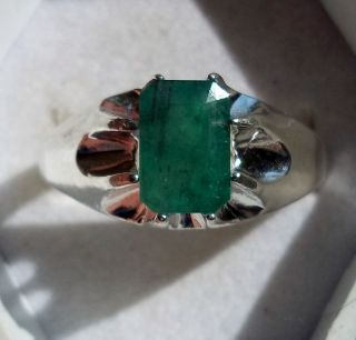 Mens 2 5ct Grass Green Emerald Handsome Sterling Silver Ring
