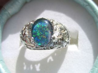 Mens Firey Australian Black Fire Opal Neat Silver Ring