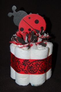 Mini Diaper Cake LADYBUG Girls Nursery Decor Baby Shower Gift