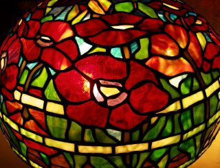 Tiffany Reproduction Stained Glass Lamp Shade Red Poppy 18   Odyssey