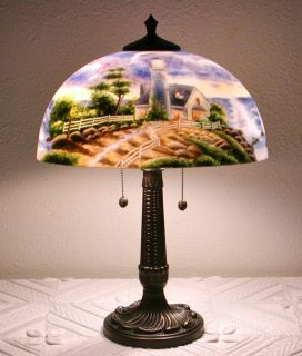 THOMAS KINKADE LAMP REVERSE PAINTING GLASS SHADE AMERICANA LIGHTHOUSE
