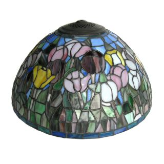 Leaded Stained Glass Floral Lamp Shade 16 x 8 NIB