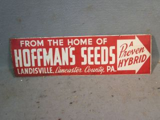 HOFFMANS SEEDS DOUBLE SIDED ARROW ADVERTISING TIN SIGN LANDISVILLE PA