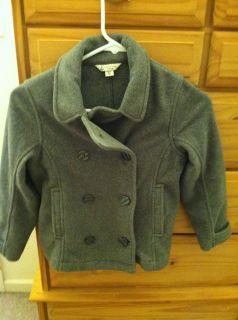 Girls Lands End Gray Fleece Pea Coat Jacket 6X