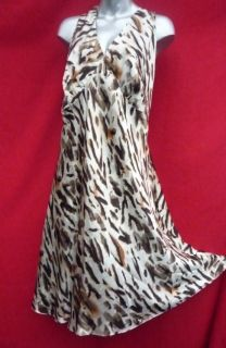 LANE BRYANT Busty ANIMAL PRINT SATINY 100% SILK Dress size 22 22w 3x