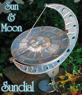 Large Sun Moon Sundial Garden Housewarming Gift