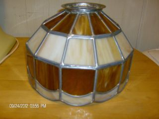 Vintage Slag Glass Stained Leaded Glass Lamp Shade