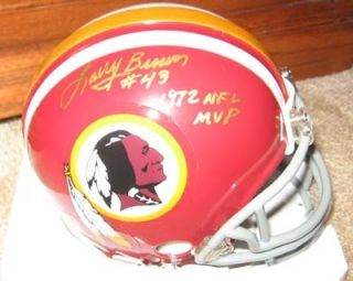 Redskins Larry Brown Signed Mini Helmet with Inscription 1972 NFL MVP