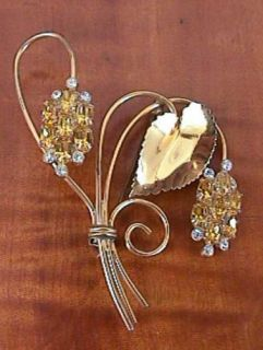 Vintage Sterling Gold Gilt Yellow Stones Large Brooch
