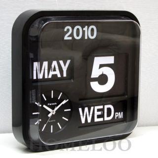 Fartech Modern Black 17 Large Calendar Flip Wall Clock