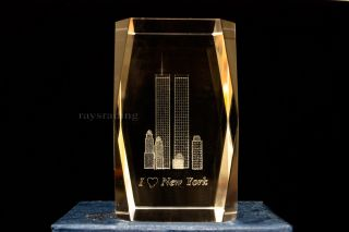 You are bidding on a beautiful 3D laser etched crystal tower with 3D