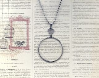 Vintage Frosted Monocle Type Lens Necklace Silver Chain