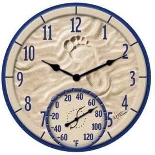 Large 14 Outdoor Pool Patio Garden Wall Clock Thermometer Temperature
