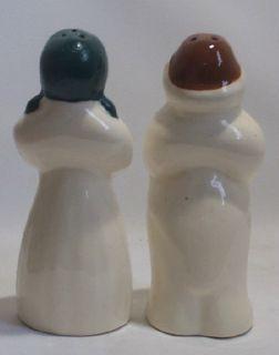 Vintage Black Americana Large Salt Pepper Shakers Mammy Butler White
