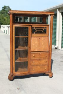 Superb Larkin Tiger Oak Empire Side by Side Secretary Desk Cabinet w