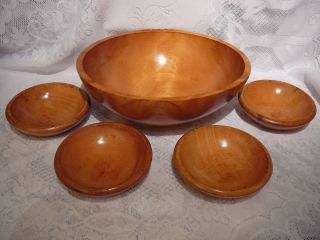 PC BARIBOCRAFT DANISH MOD X LARGE MAPLE WOOD 13 5 SALAD BOWL 4 BOWLS