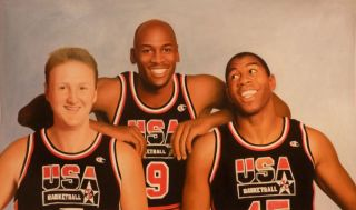 NBA DREAM TEAM OIL PAINTING michael jordan larry bird magic johnson
