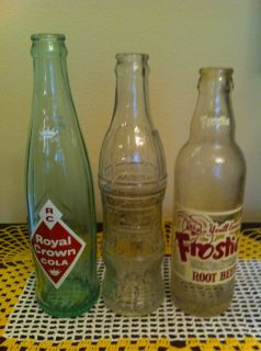 Lot of 3 soda bottles Frostie root beer, Royal crown RC cola, Try me