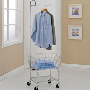 Commercial Laundry Cart w Basket Hanging Bar Shelf