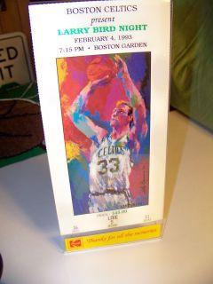 Boston Celtics Larry Bird Night Official Jersey Ticket Print HOF Leroy