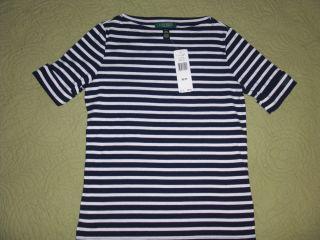 LAUREN by Ralph Lauren Petites Benny Cotton Boatneck ladies top shirt
