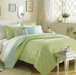 Laura Ashley Denley Green Twin Reversible Quilt Set 2 Piece