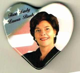Heart Shaped Laura Bush Pin Pinback Button A643