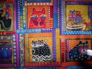 panel FABULOUS FELINES Laurel Burch Clothworks Cats bright colors