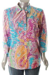 Lauren Ralph Lauren NEW Plus Size Button Down Shirt Printed Paisley
