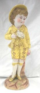 Rudolstadt Germany Porcelain Bisque Doll with Gold Gilt