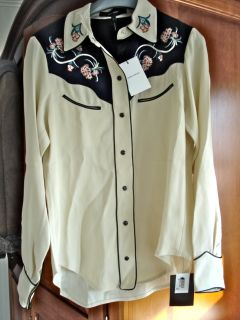 1K Isabel Marant Lauryn Cowgirl Western Embroidered Blouse Ivory 40