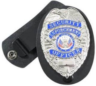 Law Enforcement Public Safety Officer Leather Badge Holder w Swivel