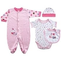 Baby 4 Piece Cupcake Layette Set