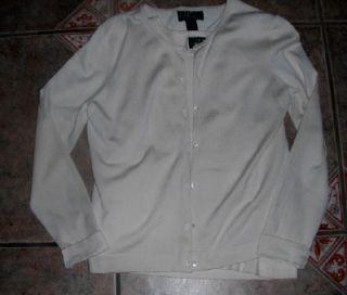 Lauren Ralph Lauren Ivory Silk Blend Twin Sweater Set Petite Medium