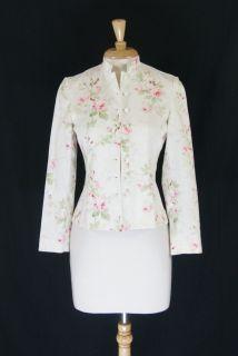 LAUREN Ralph Lauren White Green and Pink Cotton Floral Jacket Size P S