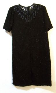 Laurence Kazar Black Silk Beaded Dress s s 2XL