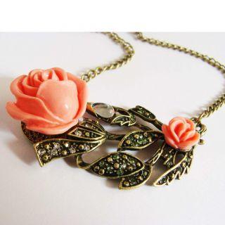 Vintage Art Deco Pink Rose Bronze Crystal Leaf Necklace