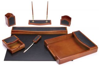 DESK ORGANIZER SET (7 Piece Natural Oak Wood and Black Eco Freindly
