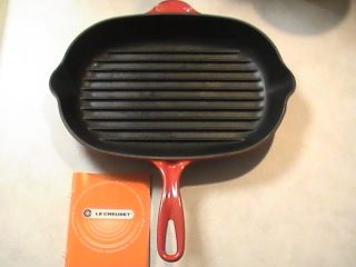 Le Creuset 2 Spout Rectangular Enameled Cast Iron Skillet Grill Pan