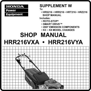 Honda HRR216 VXA VYA Lawn Mower Service Repair Manual 61VG3600WE6