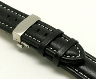 20mm Black White Leather Watch Band Deployment Clasp for Omega Movado