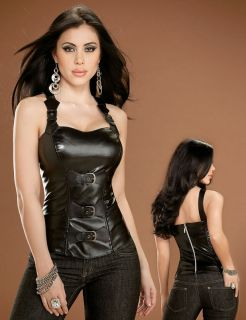 Black Faux Leather Corset Gothic Womens Costume 32