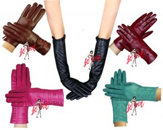 New Women Ladies Soft Coloured Leather Gloves Sizes SM Ml