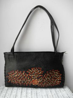 Leather Purse Brown Handmade from Peru Tooling Flowers